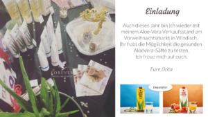 Vorweihnachtsmarkt Windisch - Aloe Vera Verkaufsstand